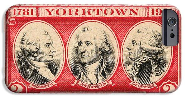 Yorktown iPhone Cases - Battle of Yorktown Postage Stamp iPhone Case by James Hill