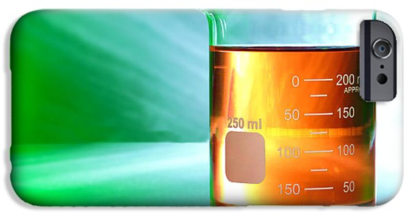 Amber iPhone Cases - Laboratory Equipment in Science Research Lab iPhone Case by Olivier Le Queinec