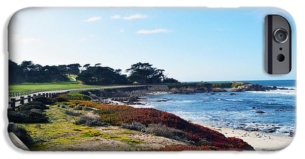 Golf Green iPhone Cases - 17 Mile Drive Shore Line iPhone Case by Barbara Snyder