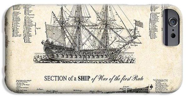 Tall Ship Digital iPhone Cases - 1728 Illustrated British War Ship iPhone Case by Daniel Hagerman