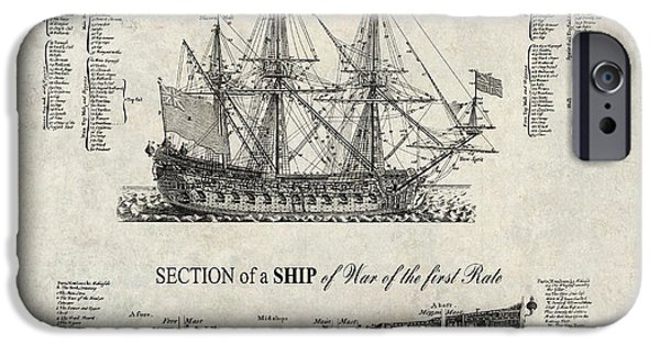 Tall Ship iPhone Cases - 1728 SHIP of WAR ILLUSTRATION iPhone Case by Daniel Hagerman