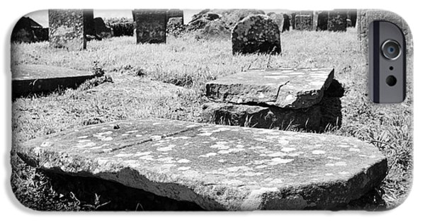 Headstones iPhone Cases - 17th And 18th Century Tombs And Headstones In Tydavnet Old Cemetery County Monaghan Republic Of Irel iPhone Case by Joe Fox