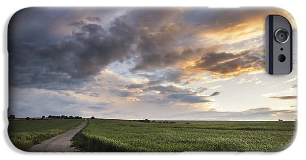 Agricultural iPhone Cases - Beautiful Summer sunset landscape Steyning Bowl on South Downs  iPhone Case by Matthew Gibson