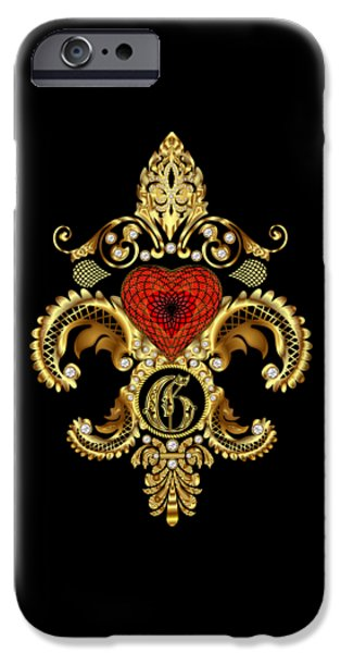 4th July Mixed Media iPhone Cases - Fleur-de-lis 3 Monograms Duvets Transparent Back Pick Color iPhone Case by Bill Campitelle
