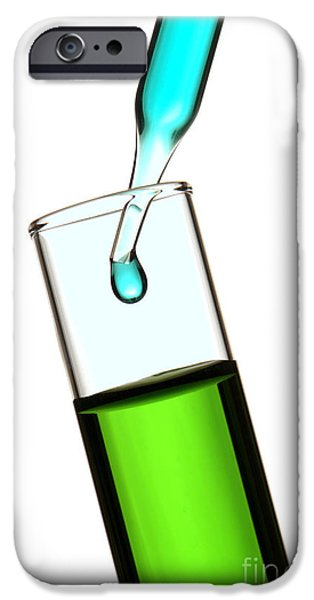 Laboratory Equipment iPhone Cases - Test Tube in Science Research Lab iPhone Case by Olivier Le Queinec