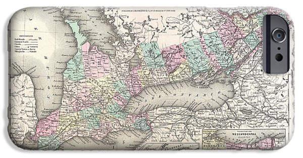 Map Of Canada iPhone Cases - 1855 Map of Upper Canada or Ontario iPhone Case by Celestial Images
