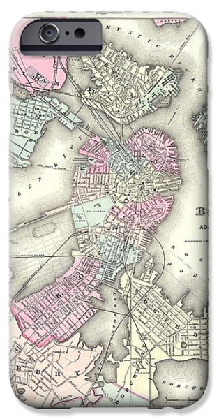 Map Of Boston iPhone Cases - 1855 Plan or Map of Boston iPhone Case by Celestial Images