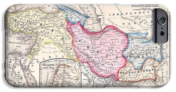 Iraq Drawings iPhone Cases - 1864 Map of Persia Turkey and Afghanistan Iran Iraq iPhone Case by Celestial Images