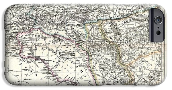 Iraq Drawings iPhone Cases - 1865 Map of the Caucasus and Iraq in Antiquity iPhone Case by Celestial Images