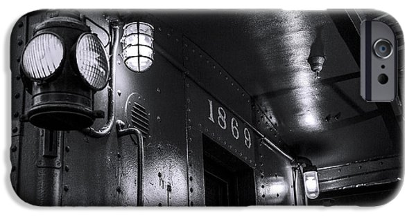 Night Lamp iPhone Cases - 1869 Caboose bw iPhone Case by Denise Dube