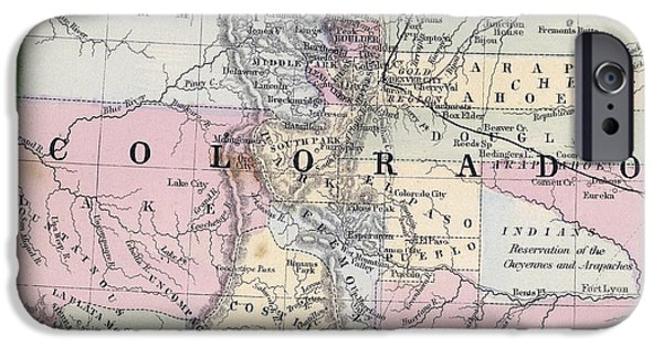 Fort Collins iPhone Cases - 1870 MAP of COLORADO iPhone Case by Daniel Hagerman