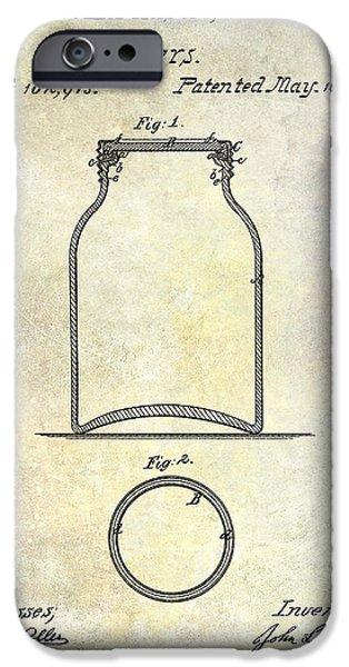 1870 iPhone Cases - 1870 Mason Jar Patent iPhone Case by Jon Neidert