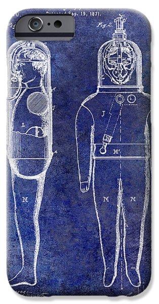 1871 iPhone Cases - 1871 Divers Suit Patent Blue iPhone Case by Jon Neidert