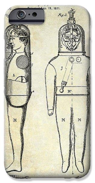 1871 iPhone Cases - 1871 Divers Suit Patent  iPhone Case by Jon Neidert