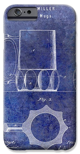 Stein iPhone Cases - 1873 Beer Mug Patent Blue iPhone Case by Jon Neidert