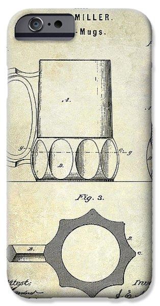 Stein iPhone Cases - 1873 Beer Mug Patent iPhone Case by Jon Neidert