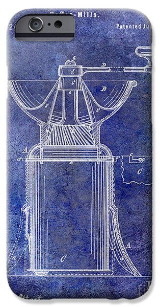 Old Grinders iPhone Cases - 1873 Coffee Mill Patent Blue iPhone Case by Jon Neidert