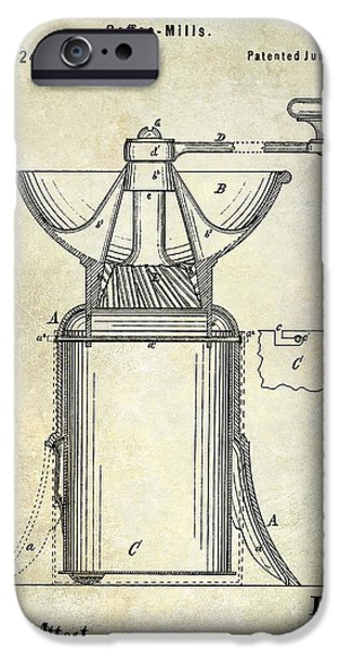 Old Grinders iPhone Cases - 1873 Coffee Mill Patent iPhone Case by Jon Neidert