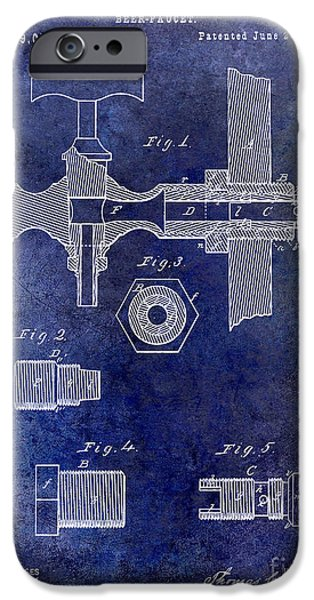 Faucet iPhone Cases - 1876 Beer Faucet Patent Blue iPhone Case by Jon Neidert