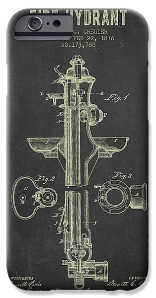 Fire Hydrant iPhone Cases - 1876 Fire Hydrant Patent - Dark Grunge iPhone Case by Aged Pixel