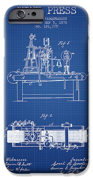 Red Wine iPhone Cases - 1876 Wine Press Patent - Blueprint iPhone Case by Aged Pixel