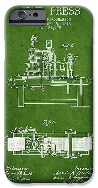 Red Wine iPhone Cases - 1876 Wine Press Patent - Green iPhone Case by Aged Pixel