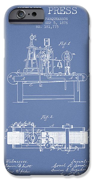 Red Wine iPhone Cases - 1876 Wine Press Patent - Light Blue iPhone Case by Aged Pixel