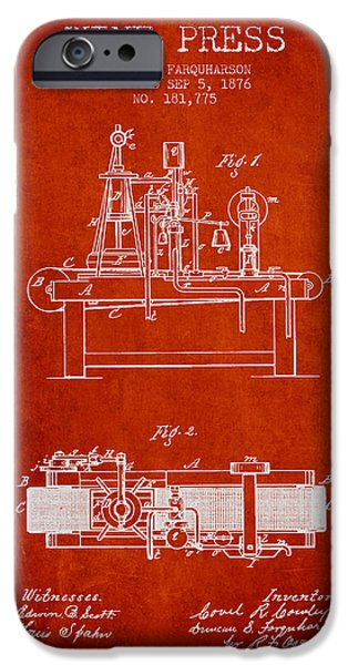 Red Wine iPhone Cases - 1876 Wine Press Patent - red iPhone Case by Aged Pixel