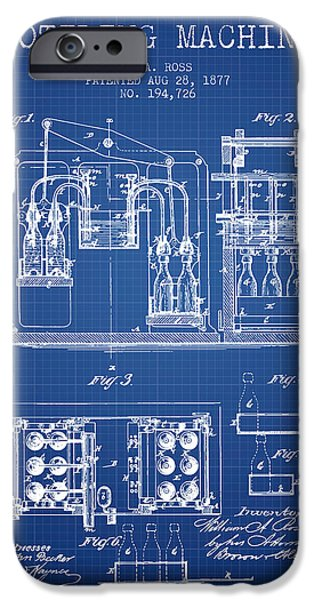 Wine Bottle iPhone Cases - 1877 Bottling Machine patent - Blueprint iPhone Case by Aged Pixel