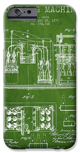 Wine Bottle iPhone Cases - 1877 Bottling Machine patent - Green iPhone Case by Aged Pixel