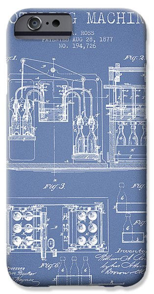 Wine Bottle iPhone Cases - 1877 Bottling Machine patent - Light Blue iPhone Case by Aged Pixel