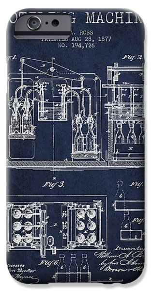 Wine Bottle iPhone Cases - 1877 Bottling Machine patent - Navy Blue iPhone Case by Aged Pixel