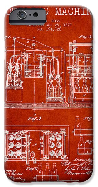 Wine Bottle iPhone Cases - 1877 Bottling Machine patent - Red iPhone Case by Aged Pixel