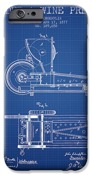 Red Wine iPhone Cases - 1877 Cider and Wine Press Patent - blueprint iPhone Case by Aged Pixel