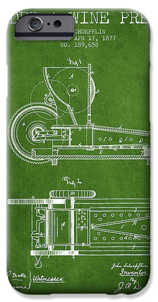 Red Wine iPhone Cases - 1877 Cider and Wine Press Patent - green iPhone Case by Aged Pixel