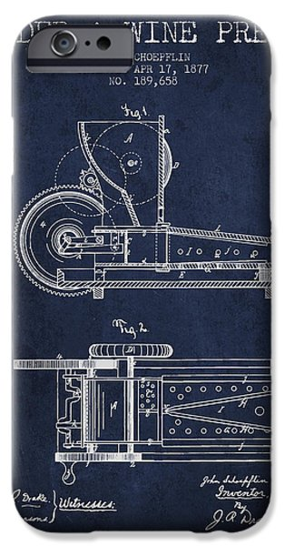 Red Wine iPhone Cases - 1877 Cider and Wine Press Patent - navy blue iPhone Case by Aged Pixel