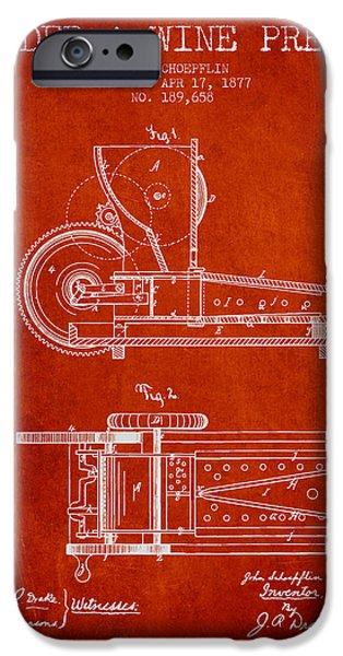 Red Wine iPhone Cases - 1877 Cider and Wine Press Patent - red iPhone Case by Aged Pixel