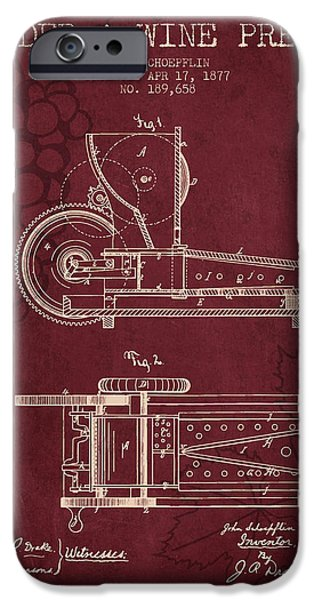 Wine Bottle iPhone Cases - 1877 Cider and Wine Press Patent - red wine iPhone Case by Aged Pixel