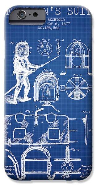Gear iPhone Cases - 1877 Firemans Suit Patent - Blueprint iPhone Case by Aged Pixel