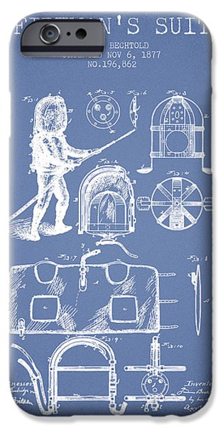 Gear iPhone Cases - 1877 Firemans Suit Patent - Light Blue iPhone Case by Aged Pixel