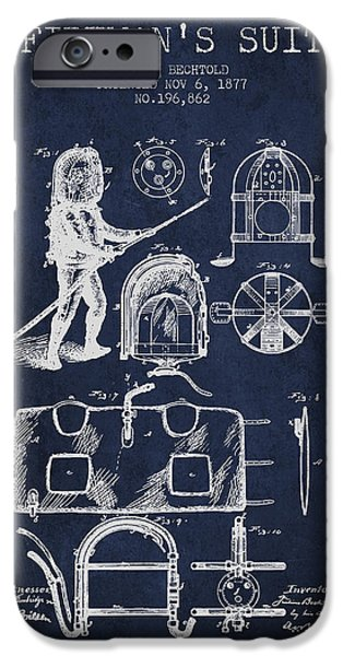 Gear iPhone Cases - 1877 Firemans Suit Patent - Navy Blue iPhone Case by Aged Pixel