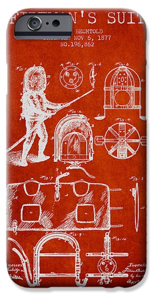 Gear iPhone Cases - 1877 Firemans Suit Patent - Red iPhone Case by Aged Pixel