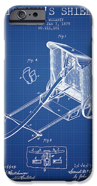 Gear iPhone Cases - 1879 Firemans Shield Patent - Blueprint iPhone Case by Aged Pixel