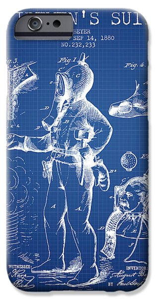 Gear iPhone Cases - 1880  Firemens Suit Patent - blueprint iPhone Case by Aged Pixel
