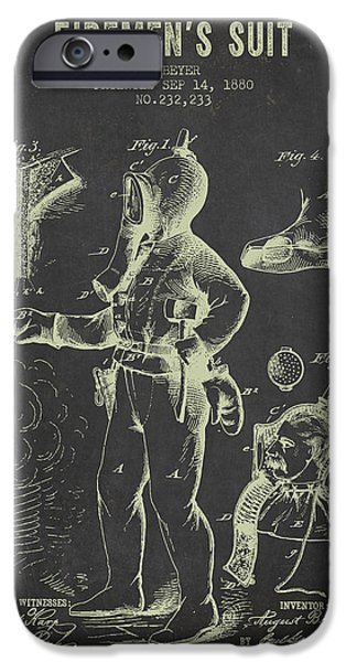 Gear iPhone Cases - 1880 Firemens Suit Patent - Dark Grunge iPhone Case by Aged Pixel