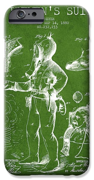 Gear iPhone Cases - 1880  Firemens Suit Patent - green iPhone Case by Aged Pixel