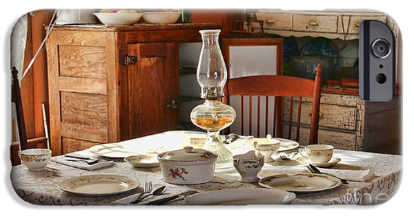 Hurricane Lamp iPhone Cases - 1880 Table Setting  8381 iPhone Case by Jack Schultz