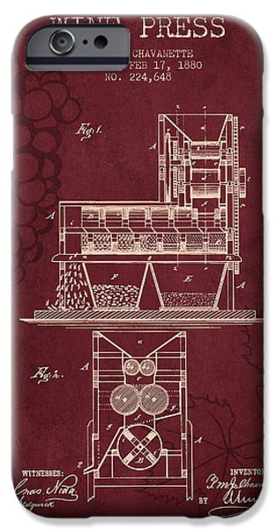Red Wine iPhone Cases - 1880 Wine Press Patent - red wine iPhone Case by Aged Pixel