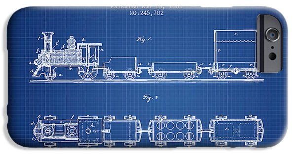 Transportation Drawings iPhone Cases - 1881 Toy Locomotive Patent - blueprint iPhone Case by Aged Pixel