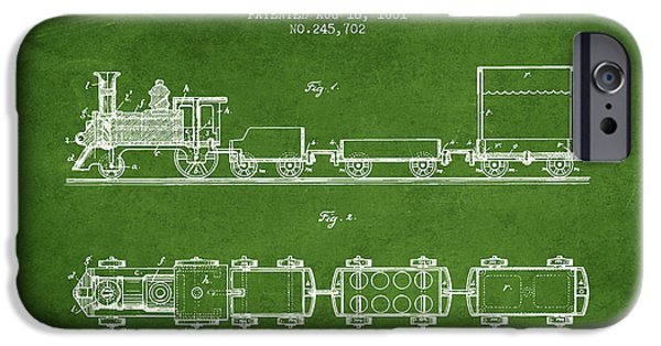 Transportation Drawings iPhone Cases - 1881 Toy Locomotive Patent - Green iPhone Case by Aged Pixel